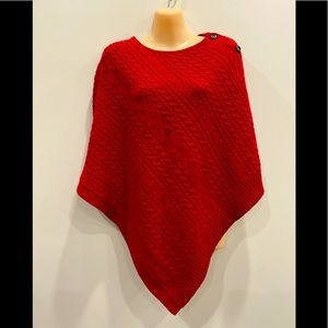 Orvis Red Cable Knit Wool Poncho